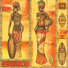 Serviette papier Afrique et femme Africaine 33 cm X 33 cm 3 plis