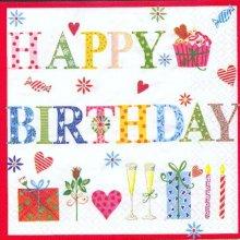 Serviette papier motif anniversaire 33 cm X 33 cm 3 plis