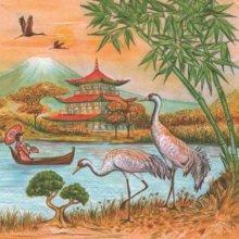 Serviette Asie et pagode 33 cm X 33 cm 3 plis