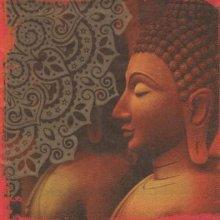 Serviette Asie et statue 33 cm X 33 cm 3 plis