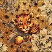 Serviette papier Bébé tigre 33 cm X 33 cm 3 plis