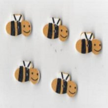 Boutons bois motif guêpes jaune lot de 5 pièces 2 cm