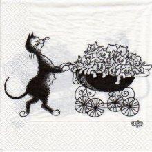 Serviette papier chats et ses petits 33 cm X 33 cm 3 plis