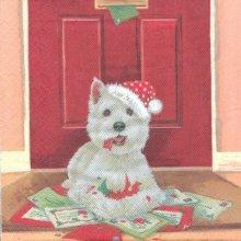 Serviette papier chiot de Noël 33 cm X 33 cm 3 plis