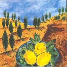 Serviette papier motif citrons et récolte 33 cmX33 cm 3 plis