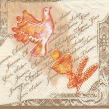 Serviette papier communion calice et colombe 33 cm x 33 cm