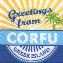 Serviette papier Corfou Grèce  33 cm X 33 cm 3 plis