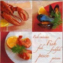 Serviette papier crabe et moule 33 cm X 33 cm 3 plis
