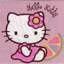 Serviette Hello Kitty assis 33 cm X 33 cm 2 plis