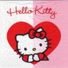 Serviette Hello Kitty + coeur de 33 cm X 33 cm 2 plis