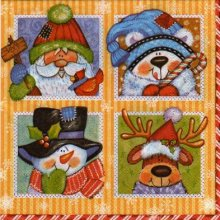 Serviette papier motif hiver et chien de 33 cm X 33 cm