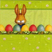 Serviette papier lapin Pâques et oeufs 33 cm X 33 cm 3 plis