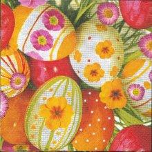 Serviette papier motif oeufs de Pâques coloré rouge