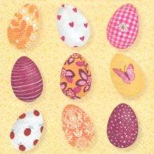 Serviette papier motif 9 oeufs de Paques couleurs divers