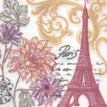 Serviette papier Paris en fleurs 33 cm X 33 cm 3 plis