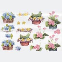 Feuille 3D poule et fleurs