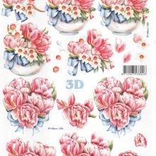 Feuille 3D roses et tulipes
