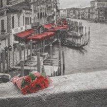 Serviette papier Venise et gondole 33 cm X 33 cm 3 plis