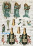 Feuille 3D prédécoupée champagne et verre