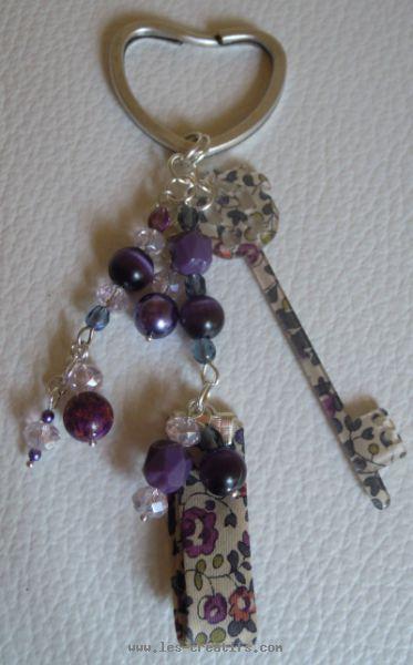 Porte clef pendentif liberty et biais assorti - Comment faire un porte clef ...