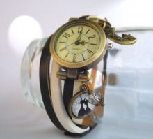 montre cuir chat