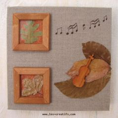 Toile feuilles musiciennes
