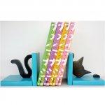 Serre-livres bois massif  « Chat espiègle » moderne, en pin des Landes