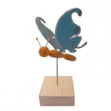 Papillon bleu électrique sur socle à poser sculpture en bois
