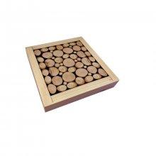 Dessous-de-plat en rondin de bois noisetier / lilas , réversible en coupelle décor craquelé or