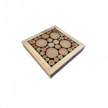 Dessous-de-plat en rondin de bois laurier / noisetier, réversible en coupelle décor cœur jacquard
