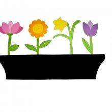 Tableau Ardoise pense-bête en bois model : jardinière de fleurs 58x35 cm