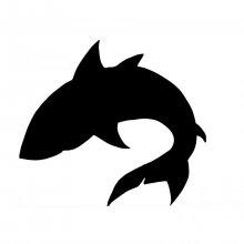 Pancarte mural ou de porte en bois model : Requin 34x34 Cm noir