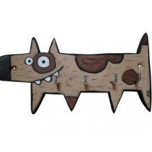 Accroche-clés chien rigolo en bois peint