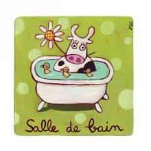 Plaque de porte Salle de bain Vache