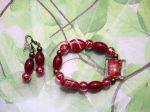 Bracelet+boucles d'oreilles ton rouge: verre, cristal