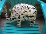 Eléphant, 46x36cm, tout doux, tissu écru avec dessins animaux