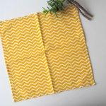 Petit mouchoir/serviette, coton , lavable, réutilisable, 27x27cm, chevron blanc/jaune