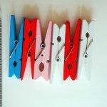 6 Clips pinces colorées bois , 50x10mm