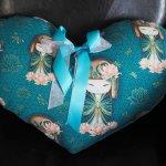 Coussin  gros COEUR 48x38cm/48x32cm vert/bleu avec chinoises,  noeud amovible, Fête des mères