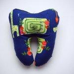 Grosse DENT tissu avec poche pour pièce, 12x13x5cm, motifs jardin/labyrinthe