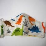 Masque 3 épaisseurs, coton et micro-fibre, dinosaures