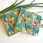 Lingette démaquillante lavable, tissu vert/jaune avec fleurs