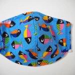 Grand masque, 3 épaisseurs, moulé, poissons, ton bleu