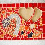MosaIque, porte photos, coeur , émaux de Briare rouge et doré, 30x22cm,  Saint-Valentin