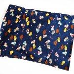 Bouillotte sèche déhoussable, coton, bleu marine chats chinois porte bonheur, 23x30cm
