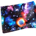 Bouillotte coton déhoussable 23x30cm  , tissu noir planètes nébuleuses..