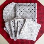 Pochette Nomade + 6 lingettes assorties, lavable, réutilisable, coton blanc et argent