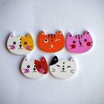 Lot 5 têtes de chats, 2x1,5cm, tous différents, customisation, couture