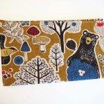 Porte chéquier en tissu, coton forêt avec ours, int coton éventails dorés, 19x11 fermé