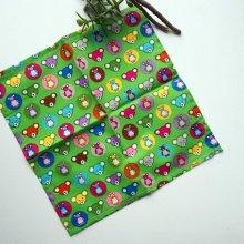 Petit mouchoir/serviette, coton , lavable, réutilisable, 27x27cm, vert têtes d'ours